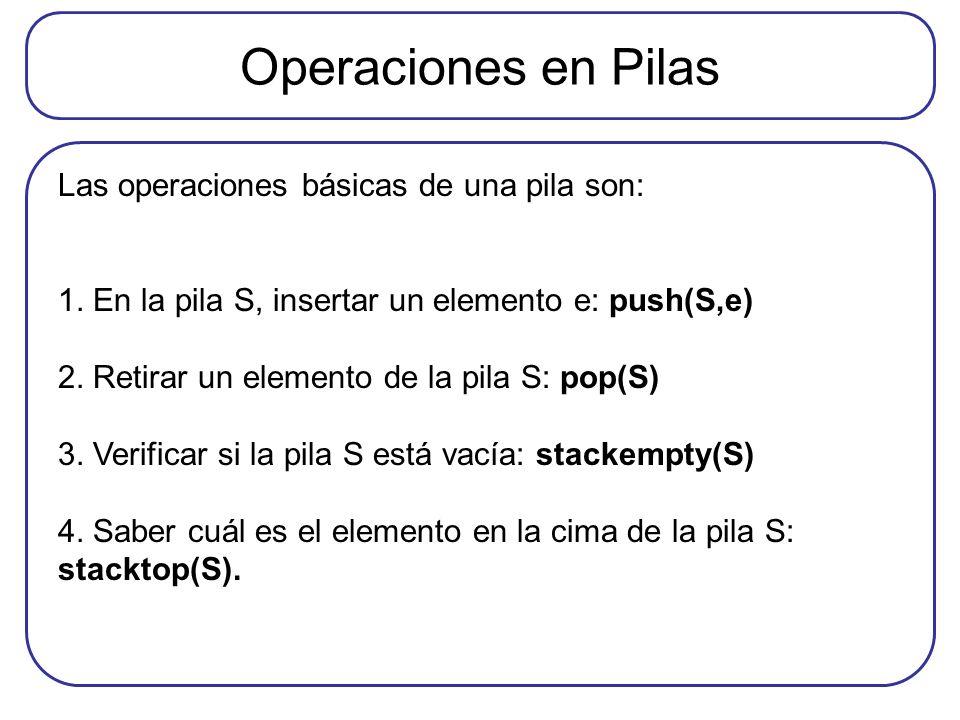 Operaciones en Pilas Las operaciones básicas de una pila son: