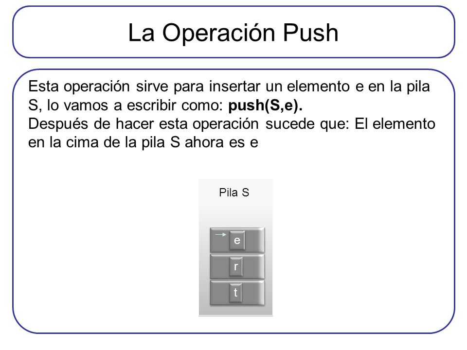 La Operación Push Esta operación sirve para insertar un elemento e en la pila S, lo vamos a escribir como: push(S,e).