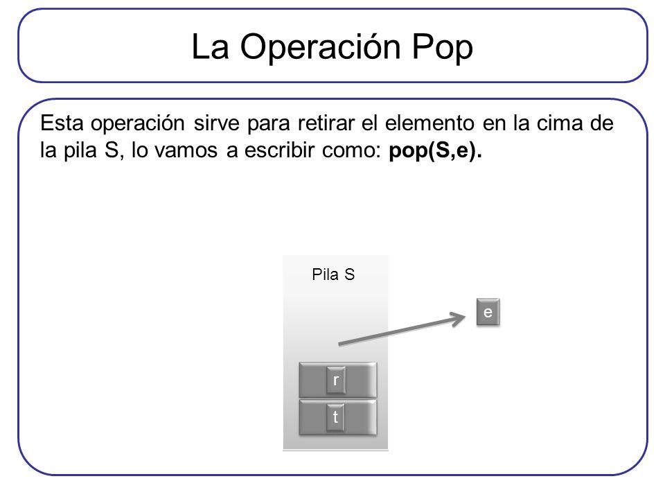 La Operación Pop Esta operación sirve para retirar el elemento en la cima de la pila S, lo vamos a escribir como: pop(S,e).