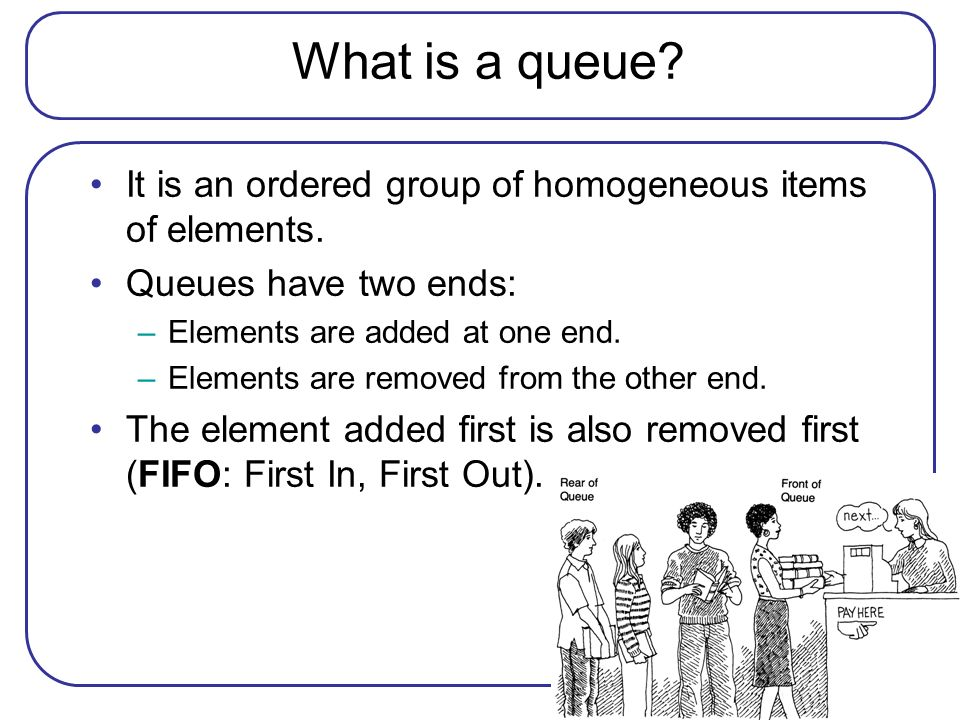 What is a queue It is an ordered group of homogeneous items of elements. Queues have two ends: Elements are added at one end.