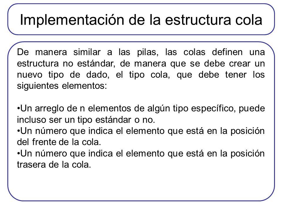 Implementación de la estructura cola