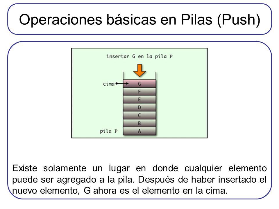 Operaciones básicas en Pilas (Push)