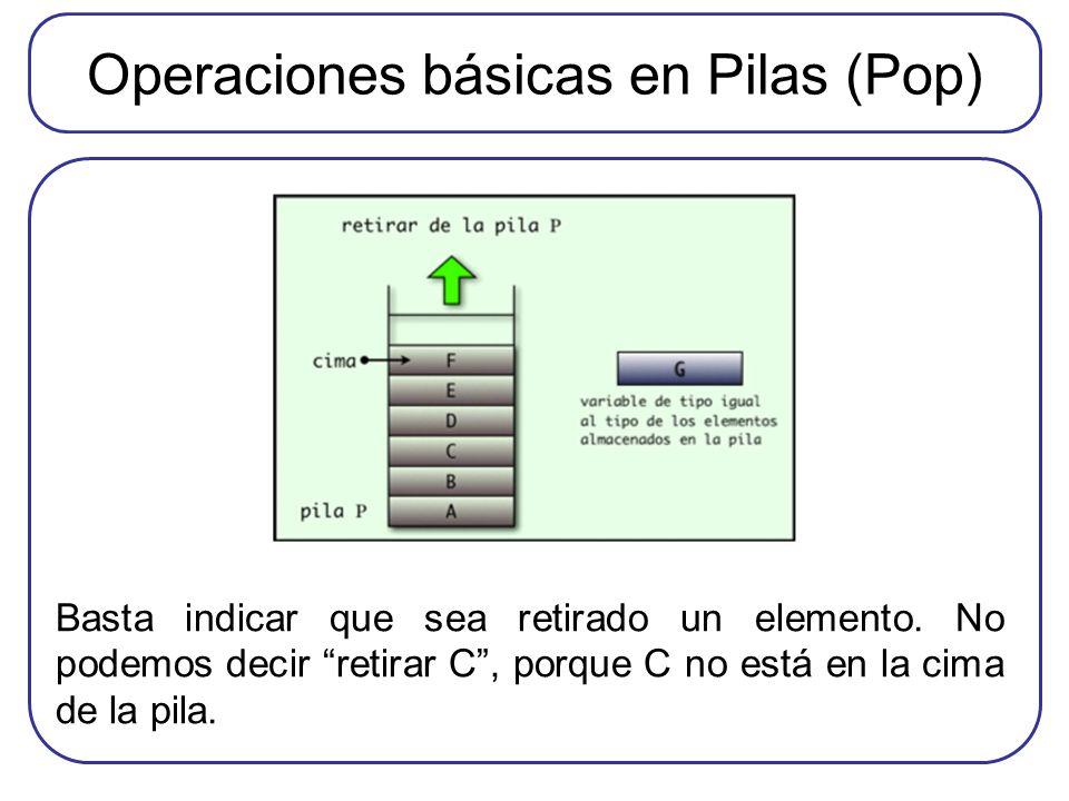Operaciones básicas en Pilas (Pop)