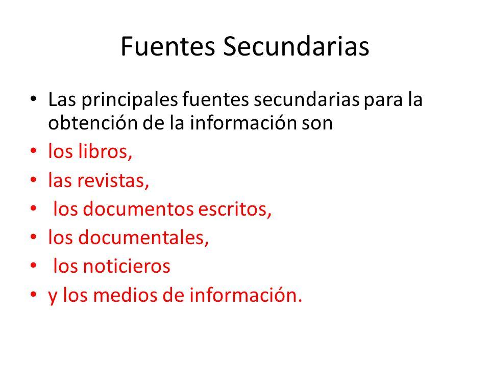 Fuentes Secundarias Las principales fuentes secundarias para la obtención de la información son. los libros,