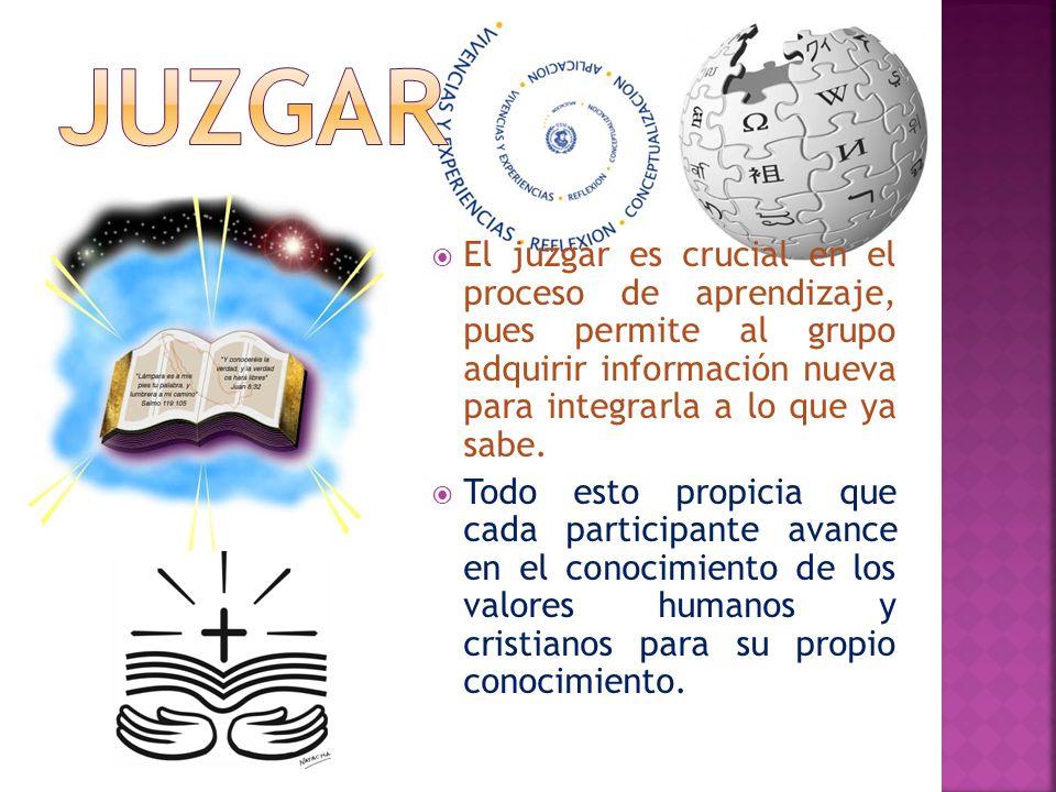 JUZGAR El juzgar es crucial en el proceso de aprendizaje, pues permite al grupo adquirir información nueva para integrarla a lo que ya sabe.