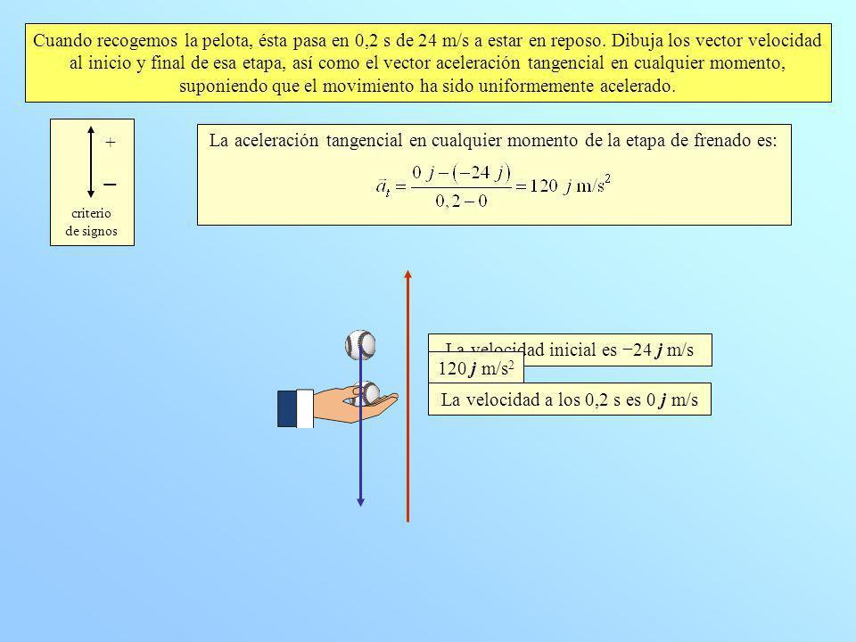 La velocidad inicial es −24 j m/s 120 j m/s2