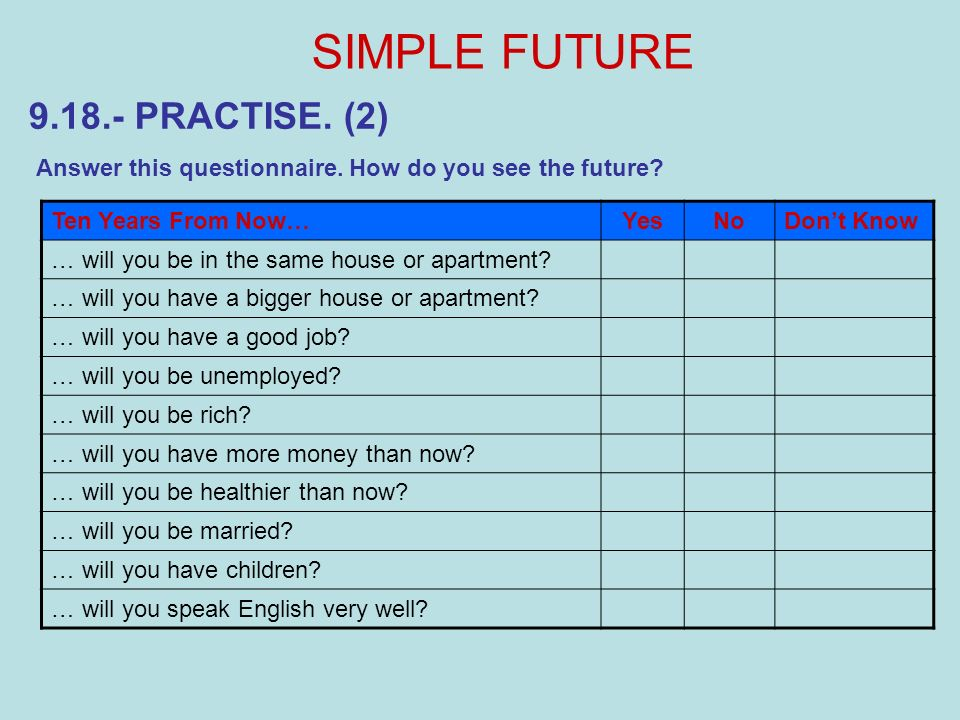 SIMPLE FUTURE 9.18.- PRACTISE. (2)