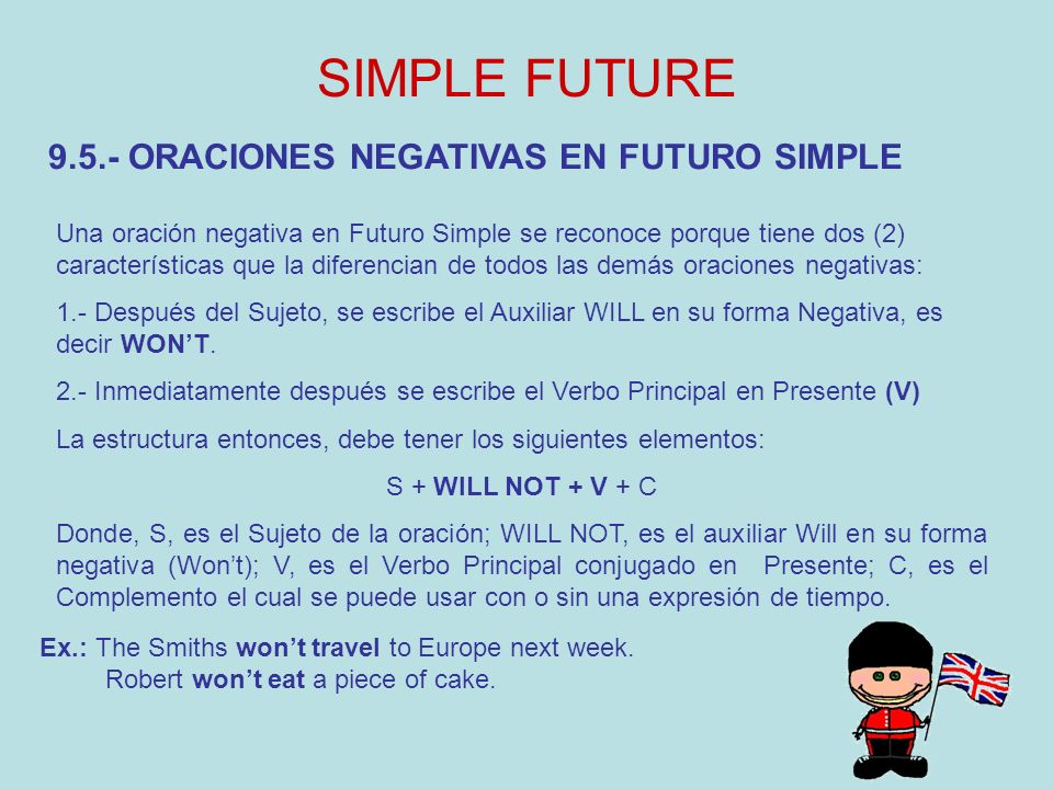 SIMPLE FUTURE 9.5.- ORACIONES NEGATIVAS EN FUTURO SIMPLE