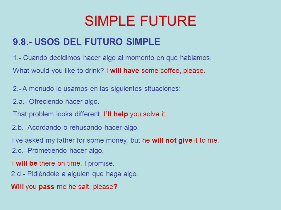 SIMPLE FUTURE 9.8.- USOS DEL FUTURO SIMPLE