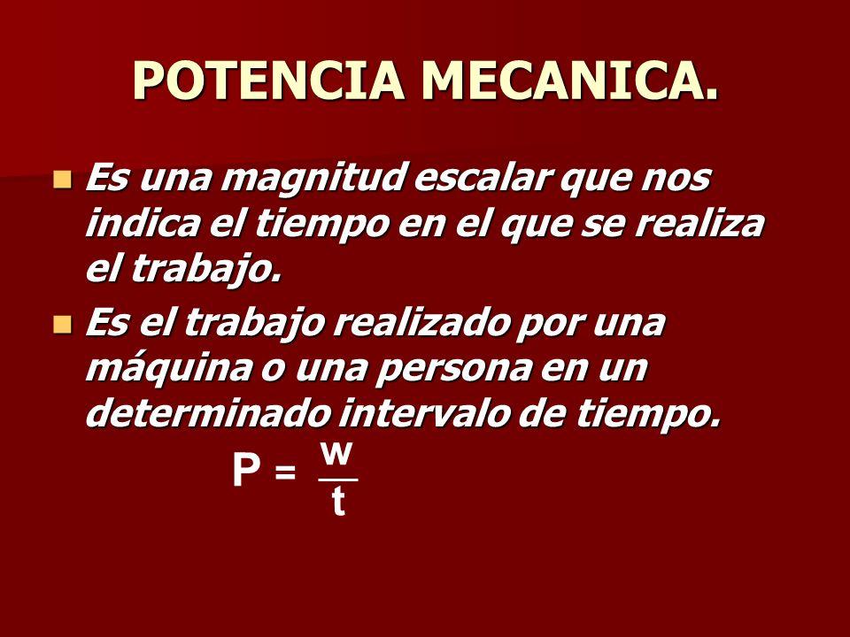 POTENCIA MECANICA. P = w t