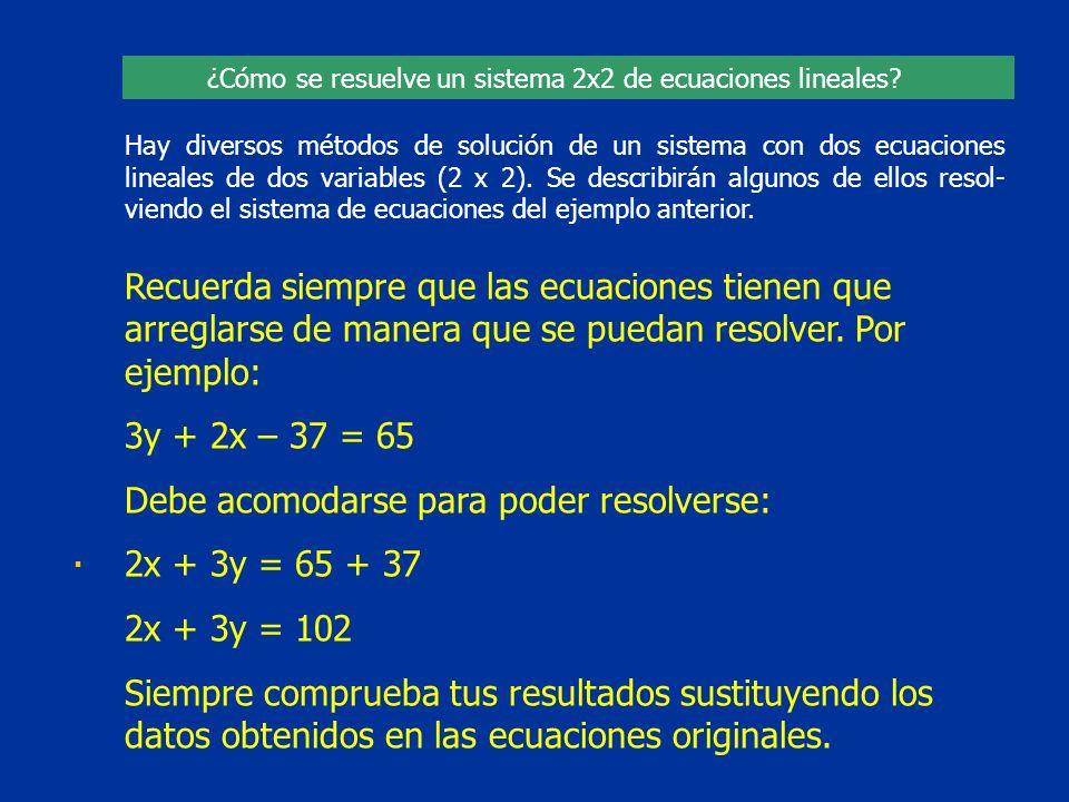 Debe acomodarse para poder resolverse: 2x + 3y = 65 + 37 2x + 3y = 102
