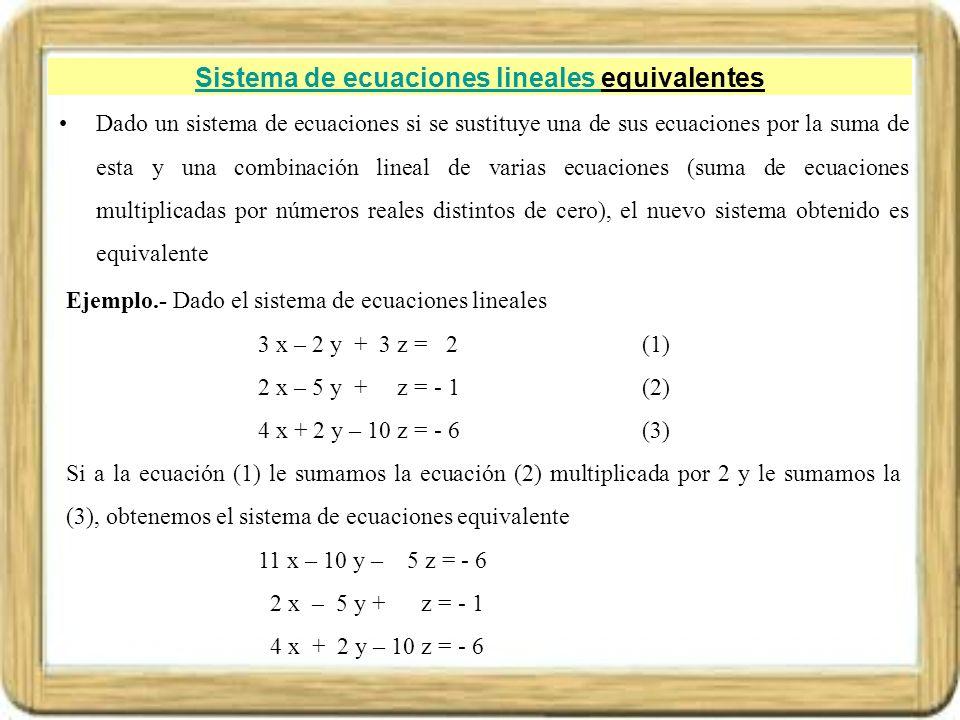 Sistema de ecuaciones lineales equivalentes
