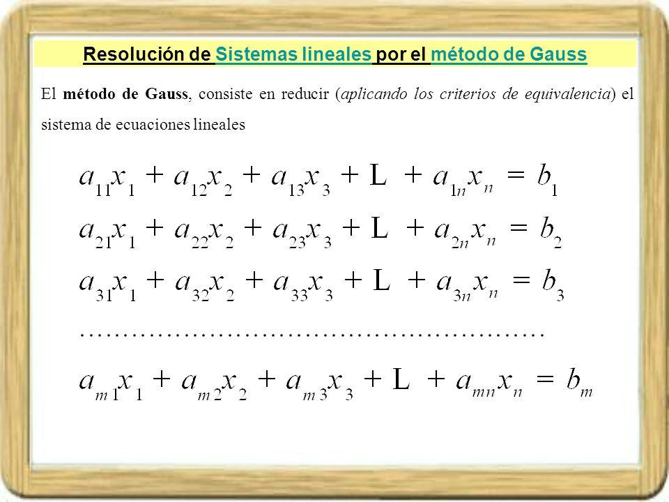 Resolución de Sistemas lineales por el método de Gauss