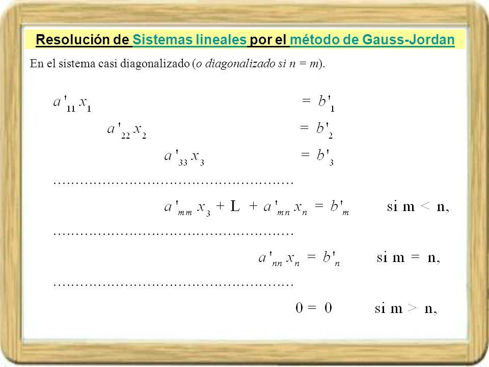 Resolución de Sistemas lineales por el método de Gauss-Jordan