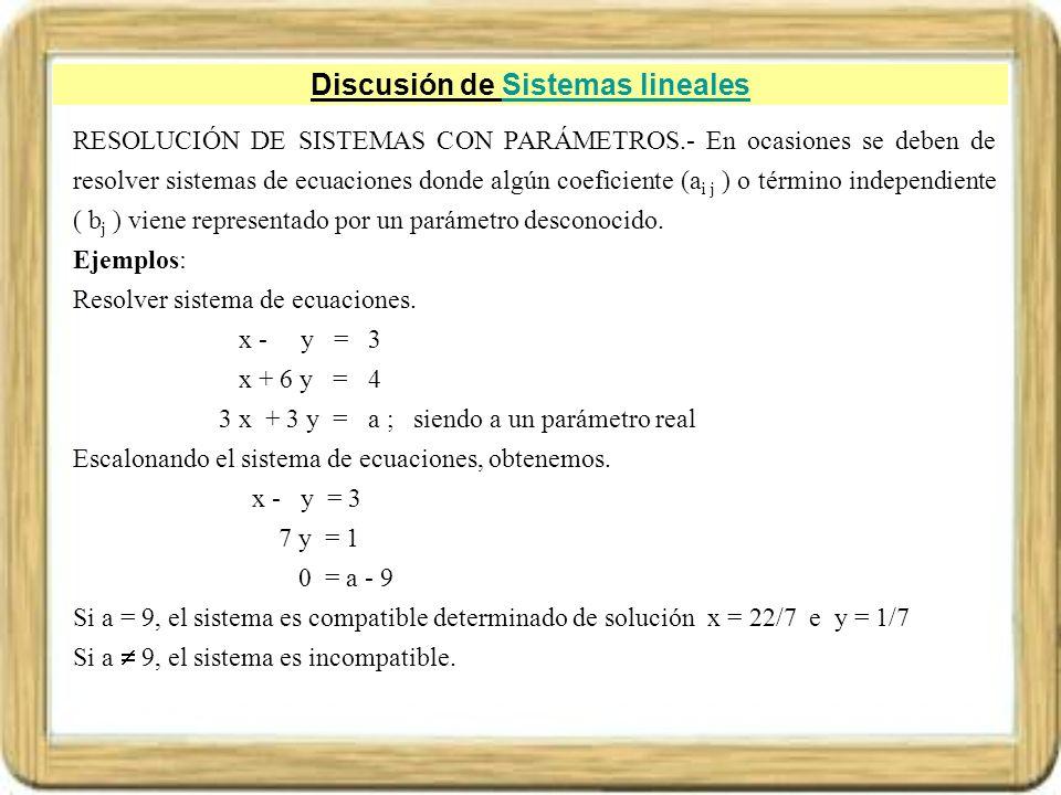 Discusión de Sistemas lineales