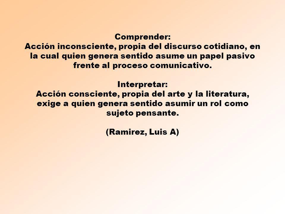 Comprender: Acción inconsciente, propia del discurso cotidiano, en la cual quien genera sentido asume un papel pasivo frente al proceso comunicativo.