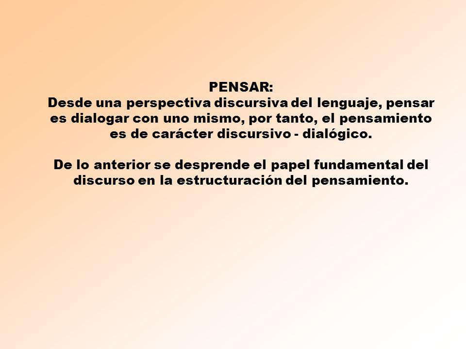 PENSAR: Desde una perspectiva discursiva del lenguaje, pensar es dialogar con uno mismo, por tanto, el pensamiento es de carácter discursivo - dialógico.