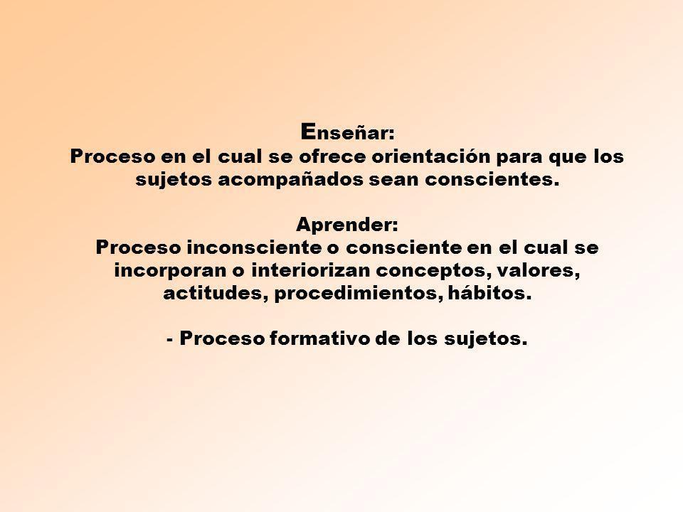 Enseñar: Proceso en el cual se ofrece orientación para que los sujetos acompañados sean conscientes.
