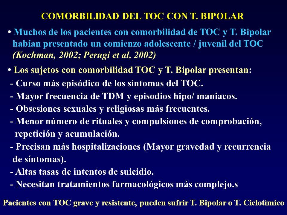 • Muchos de los pacientes con comorbilidad de TOC y T. Bipolar