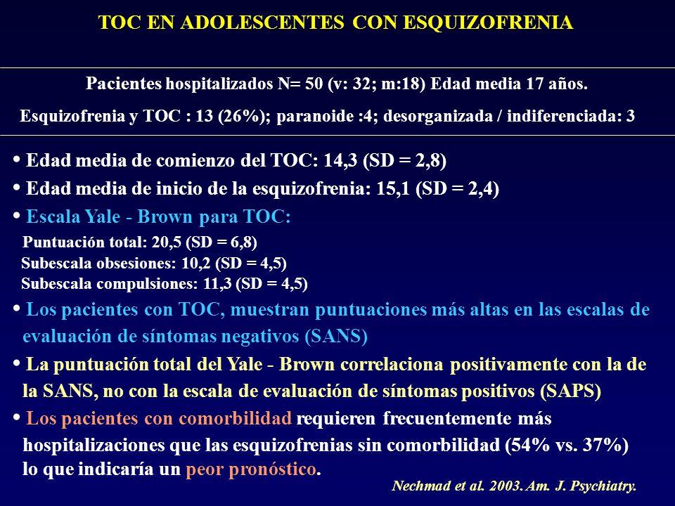 • Edad media de comienzo del TOC: 14,3 (SD = 2,8)