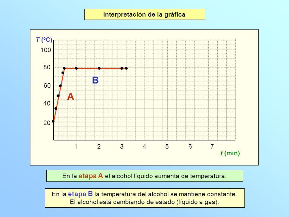 Interpretación de la gráfica Gráfica temperatura-tiempo
