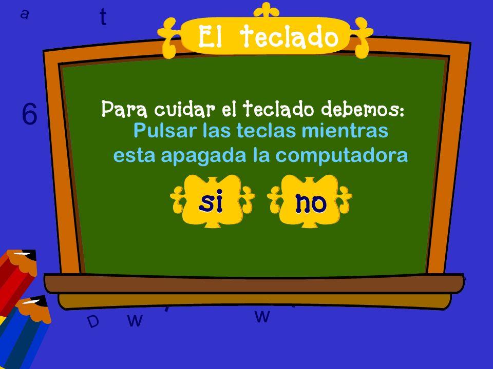 l 6 6 T l l si no t El teclado a t w 9 9 c 6 w w