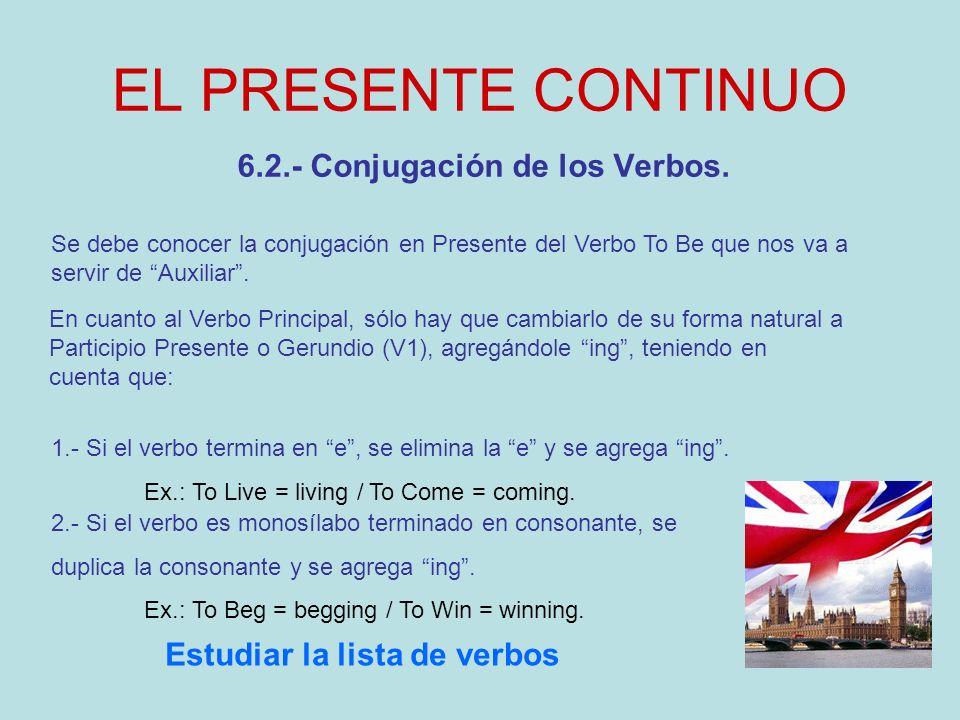 6.2.- Conjugación de los Verbos. Estudiar la lista de verbos