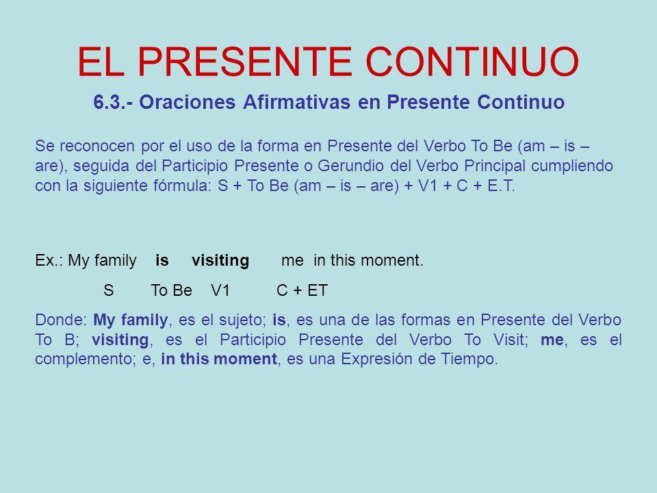 6.3.- Oraciones Afirmativas en Presente Continuo