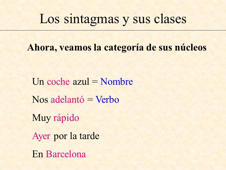 Los sintagmas y sus clases