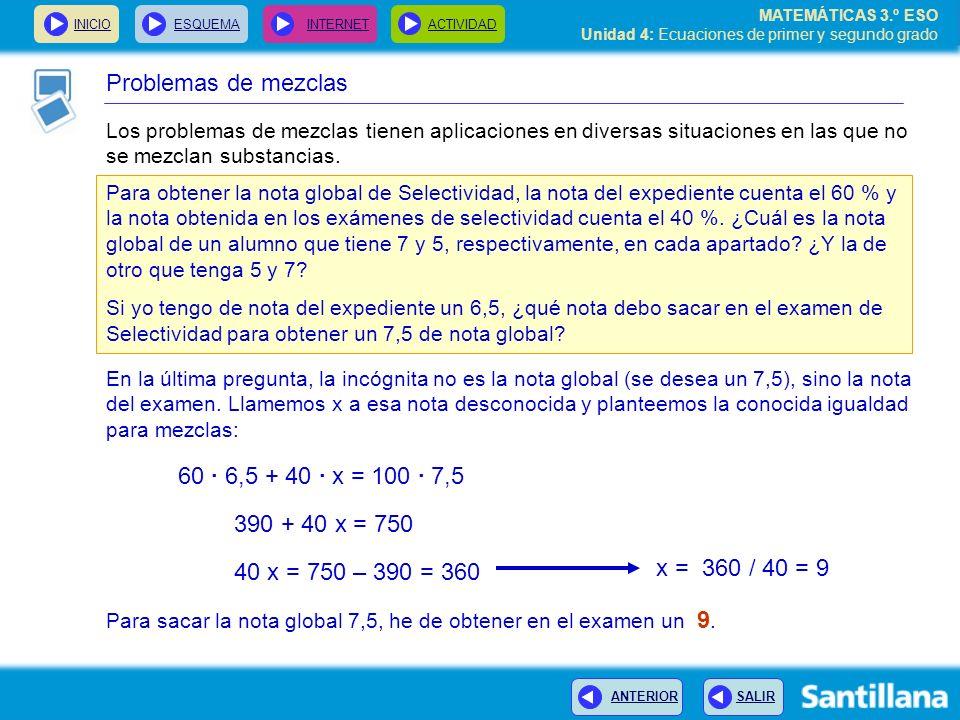 Problemas de mezclas 60 · 6,5 + 40 · x = 100 · 7,5 390 + 40 x = 750