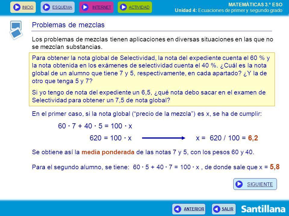 Problemas de mezclas 60 · 7 + 40 · 5 = 100 · x