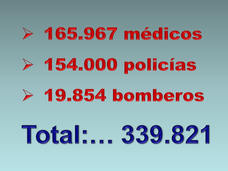 165.967 médicos 154.000 policías 19.854 bomberos Total:… 339.821