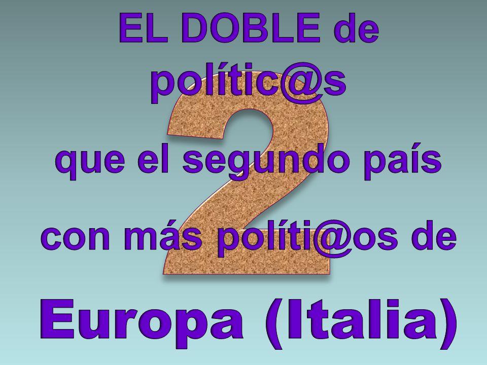 2 Europa (Italia) EL DOBLE de polític@s que el segundo país