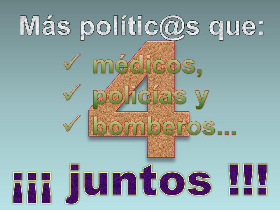 Más polític@s que: médicos, policías y bomberos... 4 ¡¡¡ juntos !!!
