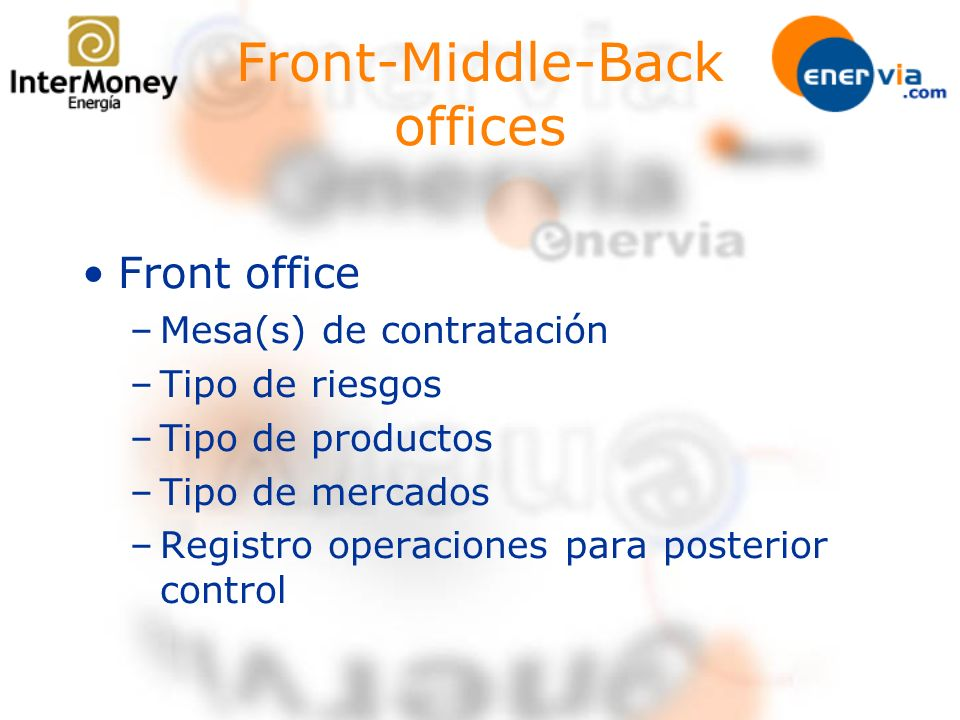 Front-Middle-Back offices