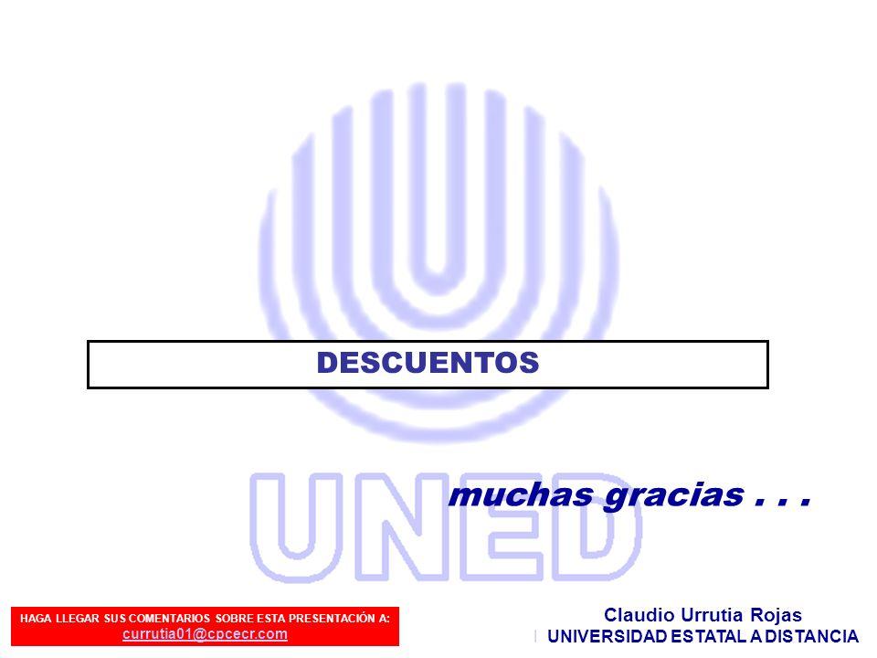 muchas gracias . . . DESCUENTOS Claudio Urrutia Rojas