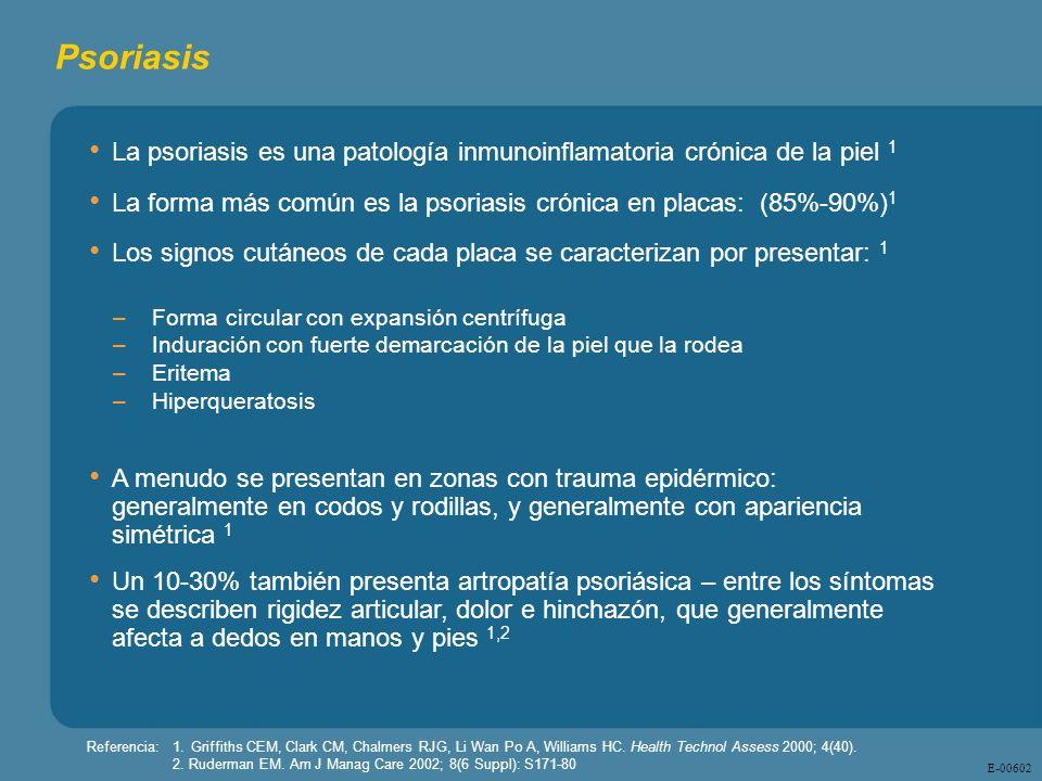 Psoriasis La psoriasis es una patología inmunoinflamatoria crónica de la piel 1. La forma más común es la psoriasis crónica en placas: (85%-90%)1.
