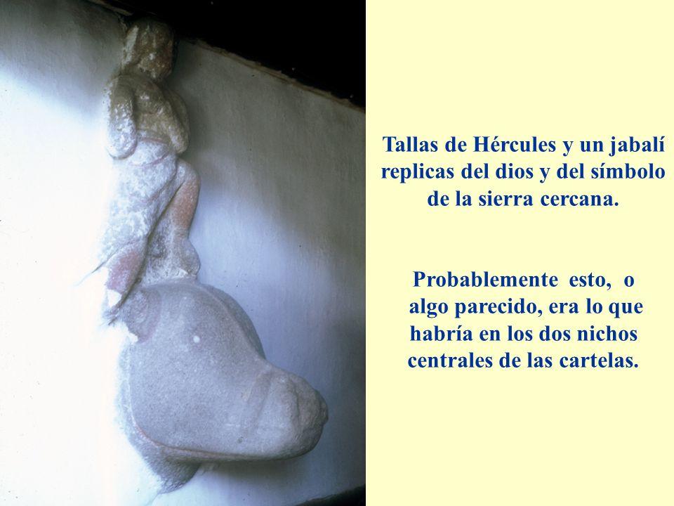 Tallas de Hércules y un jabalí replicas del dios y del símbolo