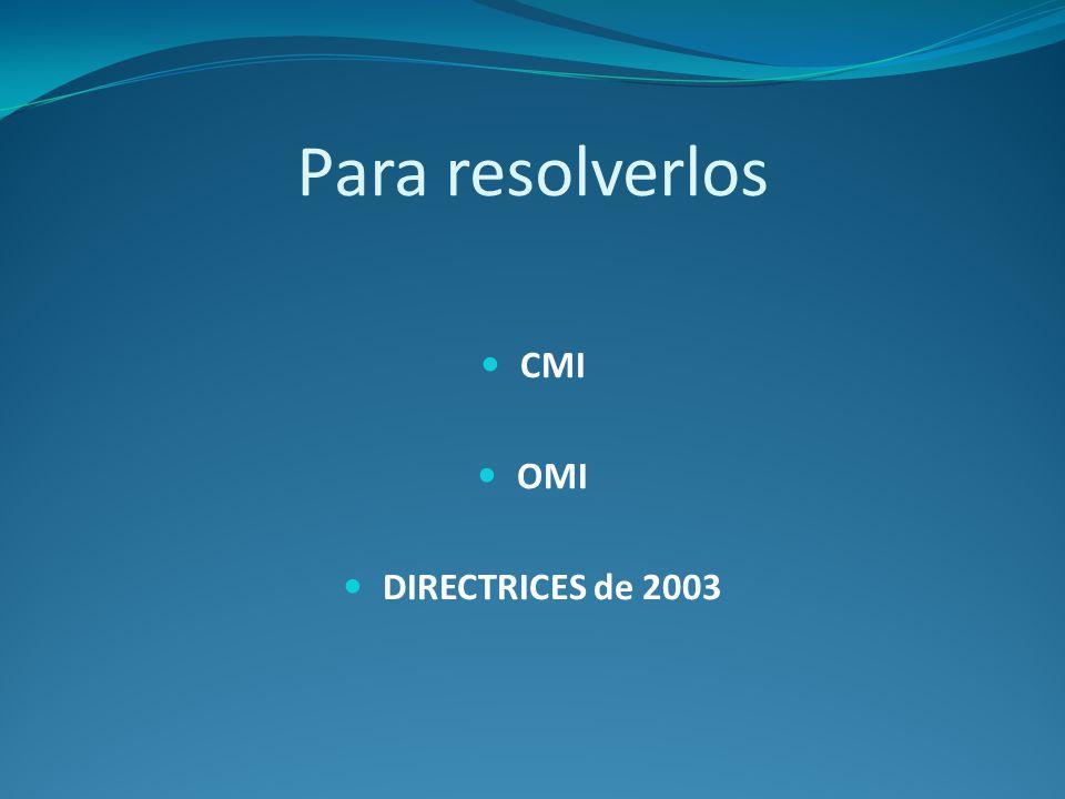 Para resolverlos CMI OMI DIRECTRICES de 2003