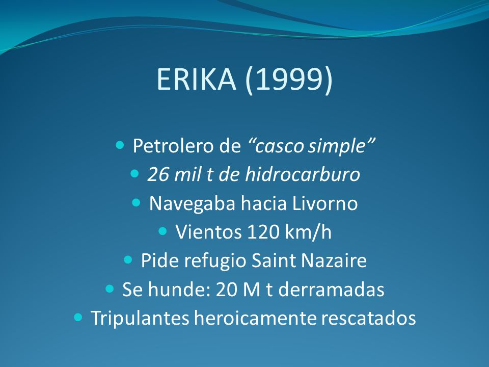 ERIKA (1999) Petrolero de casco simple 26 mil t de hidrocarburo