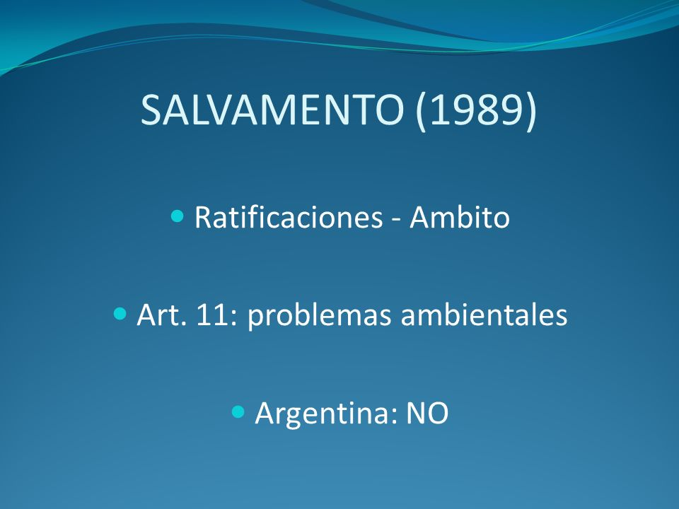 SALVAMENTO (1989) Ratificaciones - Ambito