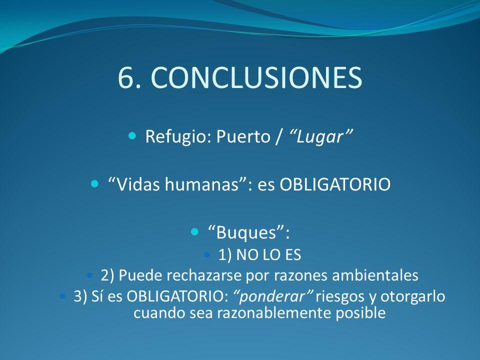 6. CONCLUSIONES Refugio: Puerto / Lugar