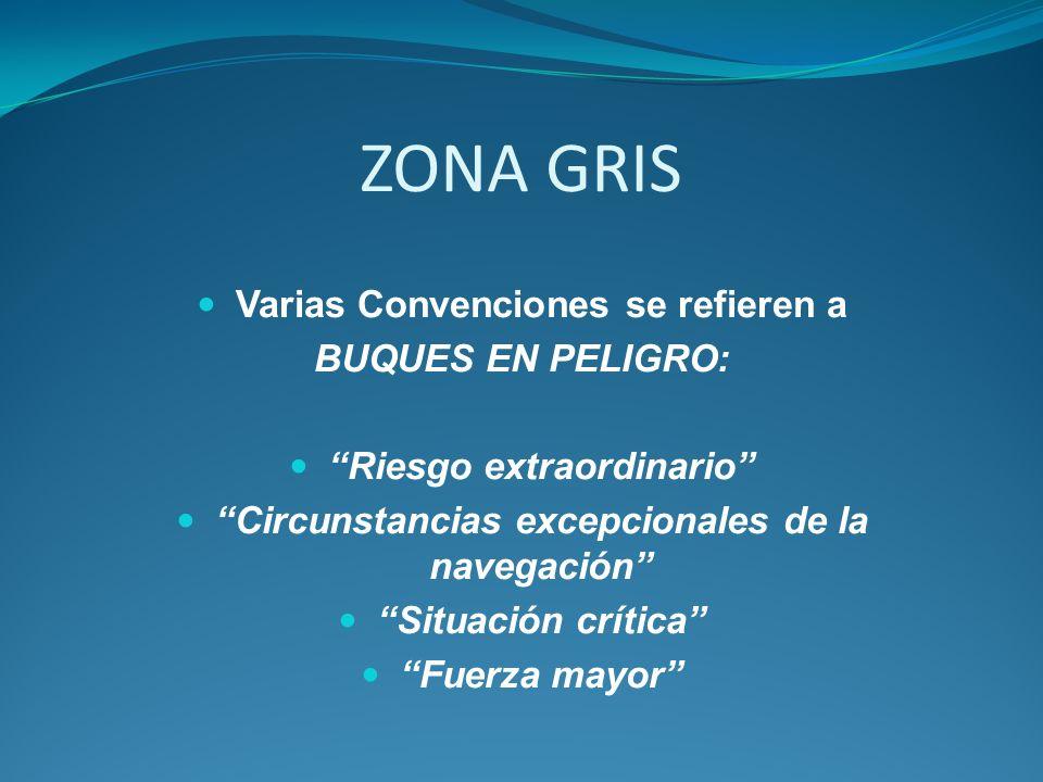ZONA GRIS Varias Convenciones se refieren a BUQUES EN PELIGRO: