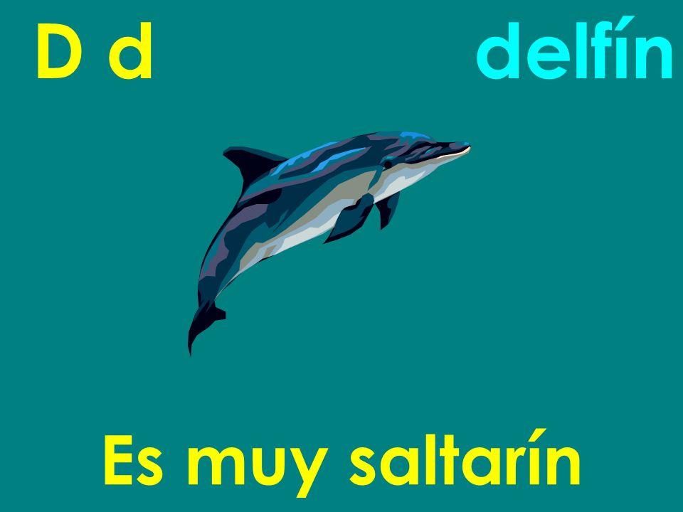 D d delfín Es muy saltarín