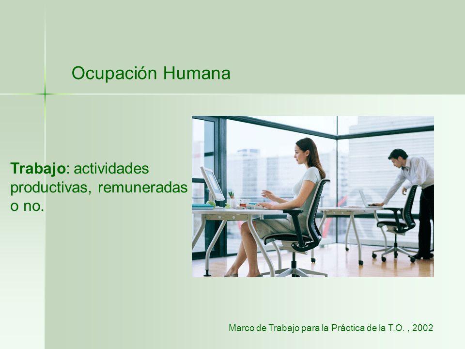 Ocupación Humana Trabajo: actividades productivas, remuneradas o no.