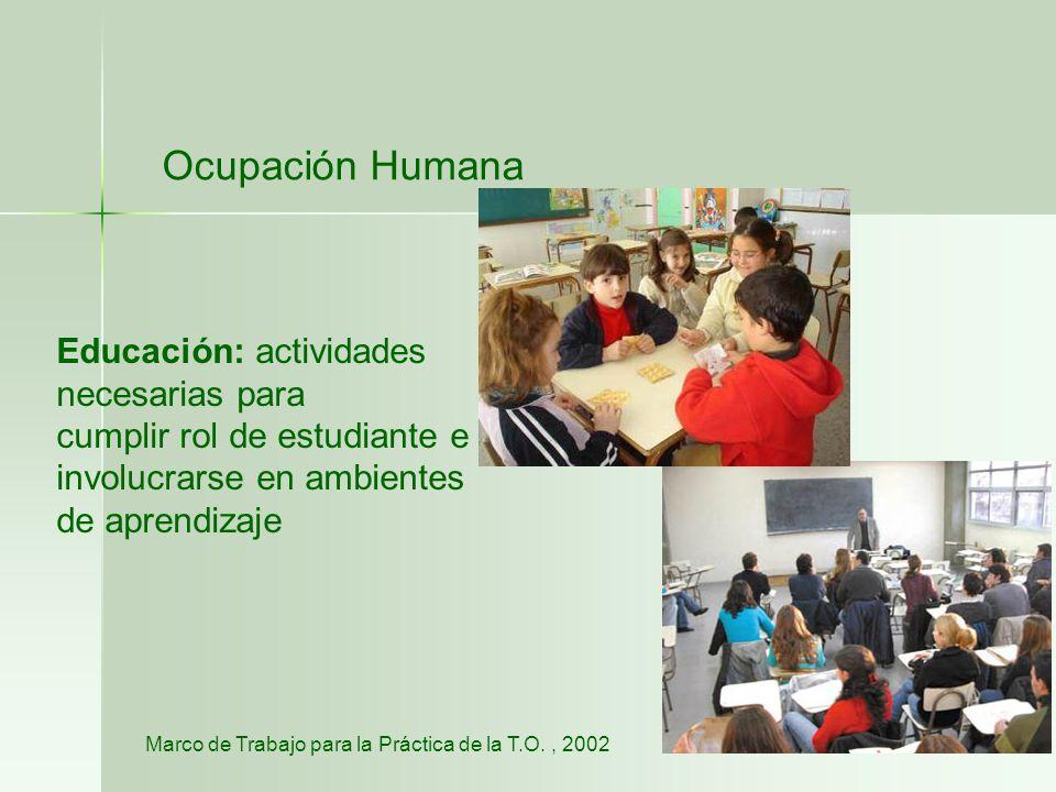 Ocupación Humana Educación: actividades necesarias para