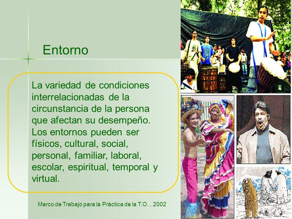 Entorno La variedad de condiciones interrelacionadas de la circunstancia de la persona que afectan su desempeño.