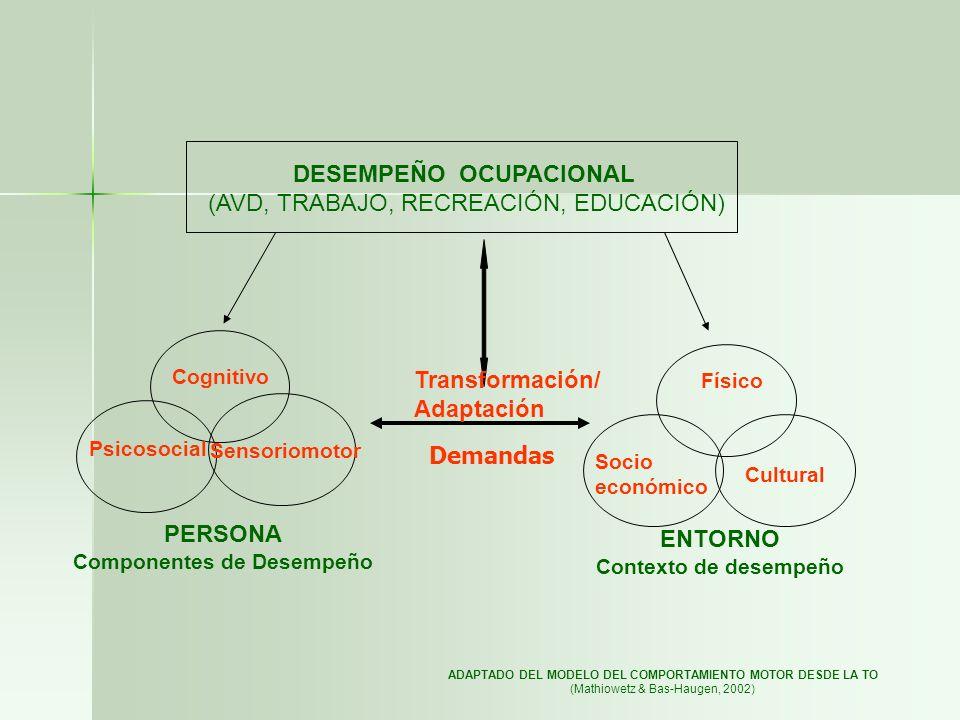 DESEMPEÑO OCUPACIONAL (AVD, TRABAJO, RECREACIÓN, EDUCACIÓN)