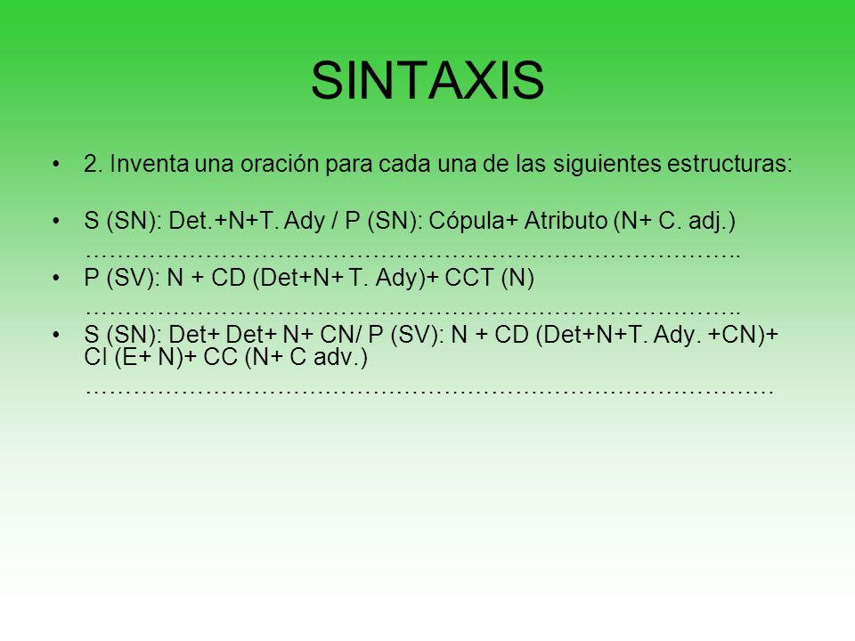 SINTAXIS 2. Inventa una oración para cada una de las siguientes estructuras: S (SN): Det.+N+T. Ady / P (SN): Cópula+ Atributo (N+ C. adj.)