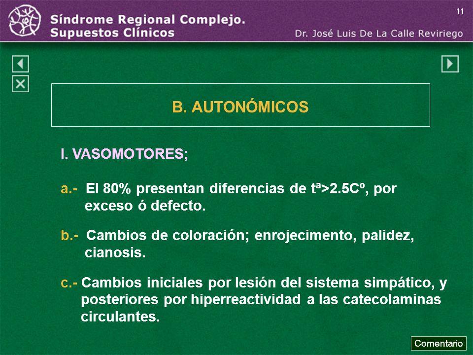 B. AUTONÓMICOS I. VASOMOTORES;